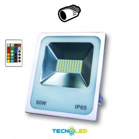Foco Proyector 50W 230V Led Smd Rgb Blanco+Mando Infrarrojo